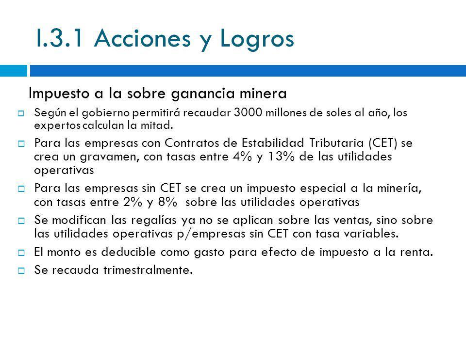 I.3.1 Acciones y Logros Impuesto a la sobre ganancia minera