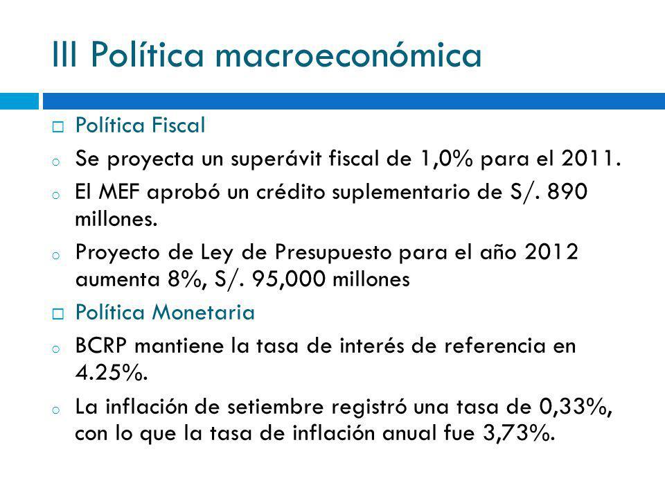 III Política macroeconómica