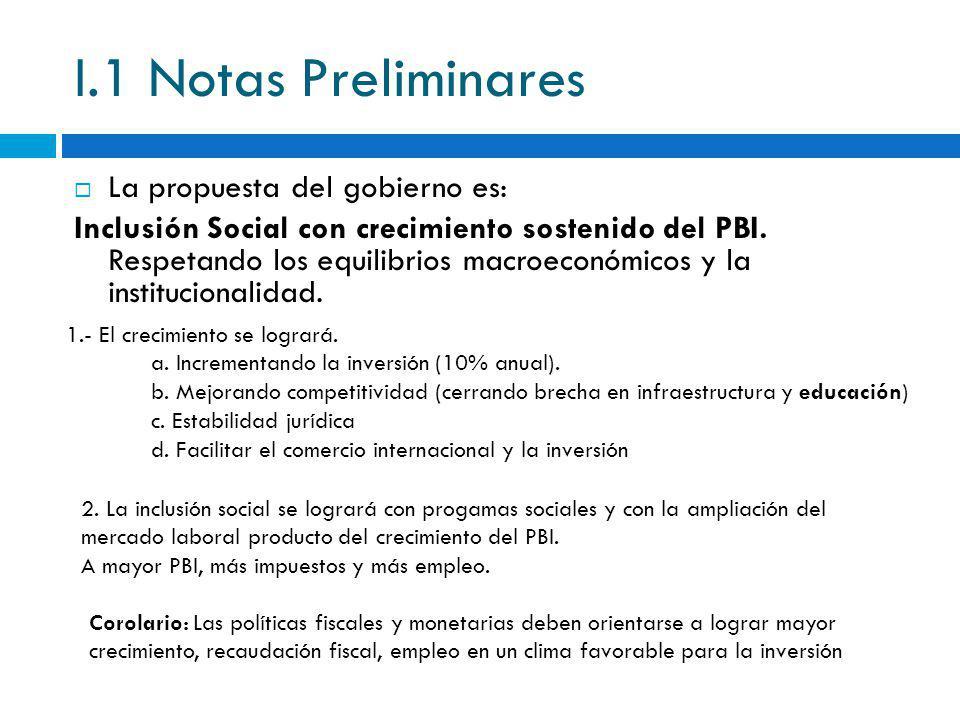 I.1 Notas Preliminares La propuesta del gobierno es:
