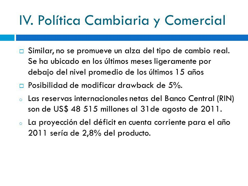 IV. Política Cambiaria y Comercial