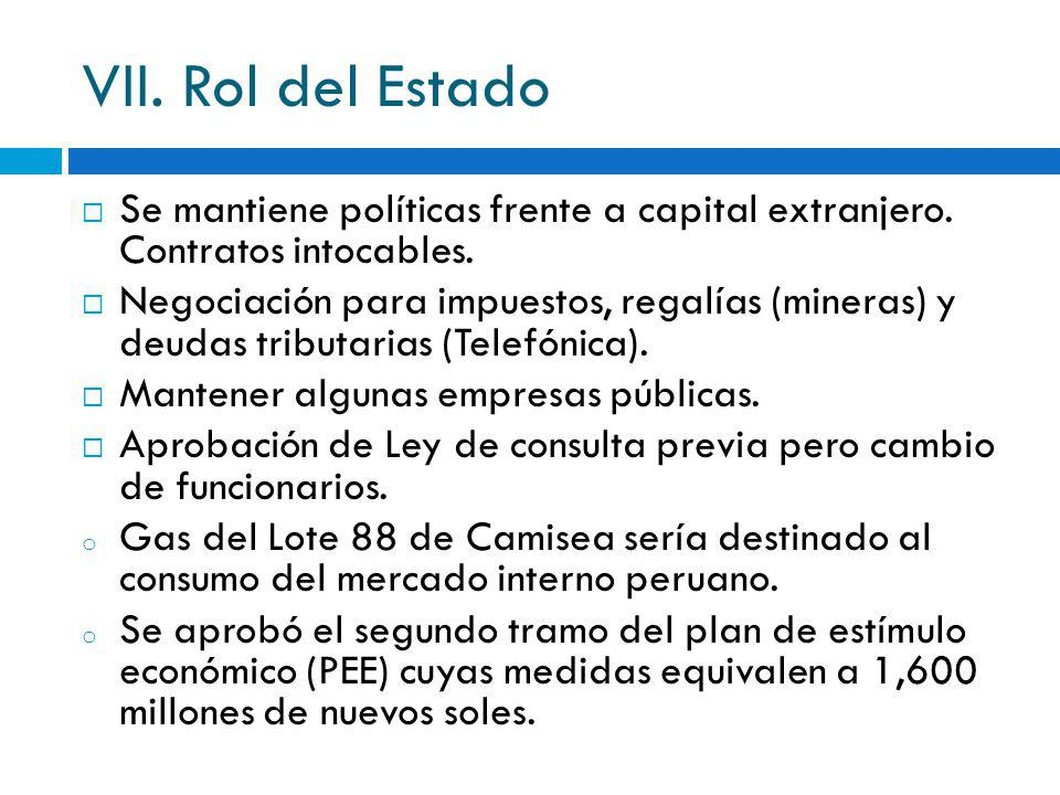 VII. Rol del Estado Se mantiene políticas frente a capital extranjero. Contratos intocables.