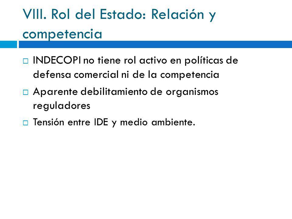 VIII. Rol del Estado: Relación y competencia
