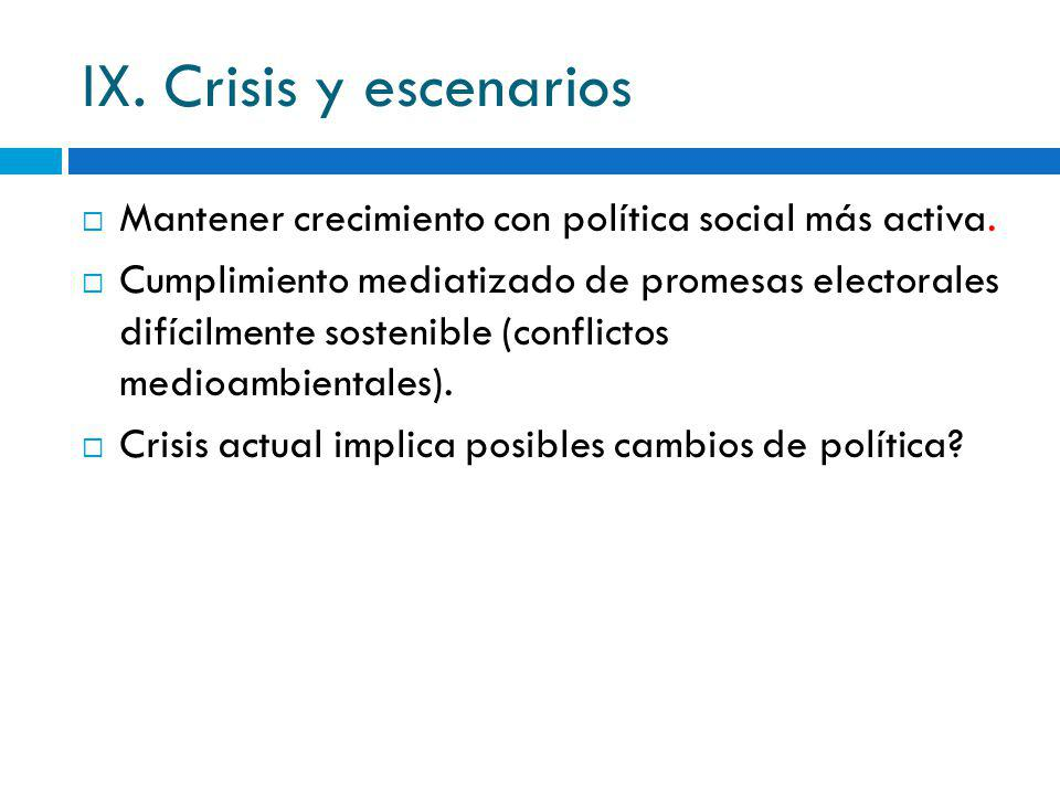 IX. Crisis y escenarios Mantener crecimiento con política social más activa.