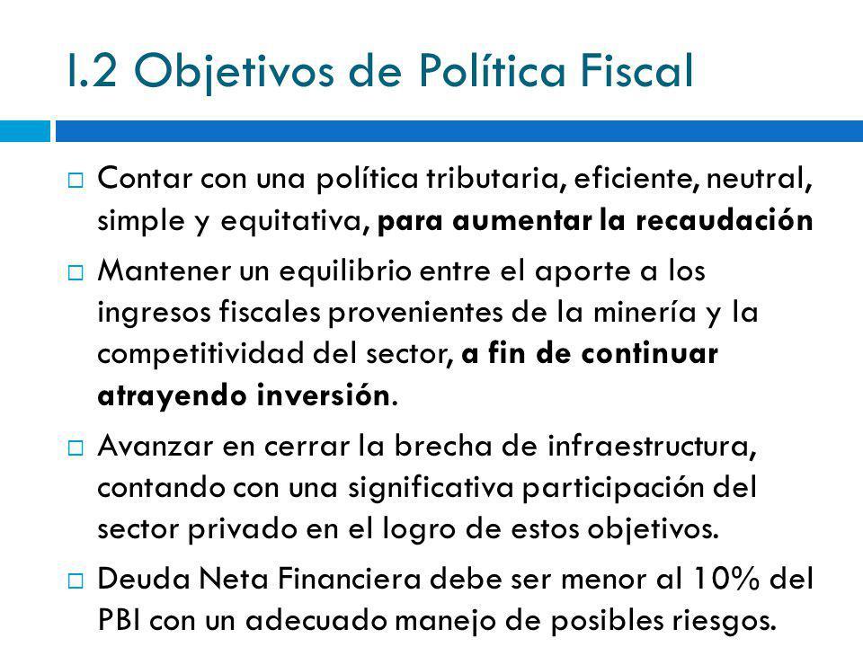 I.2 Objetivos de Política Fiscal