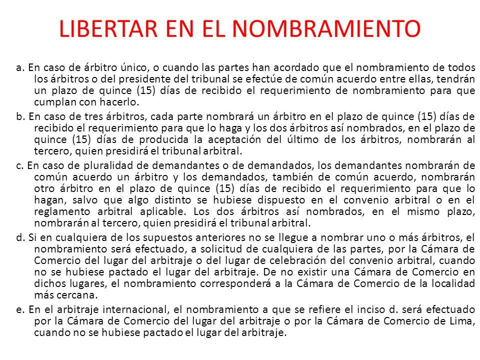 LIBERTAR EN EL NOMBRAMIENTO