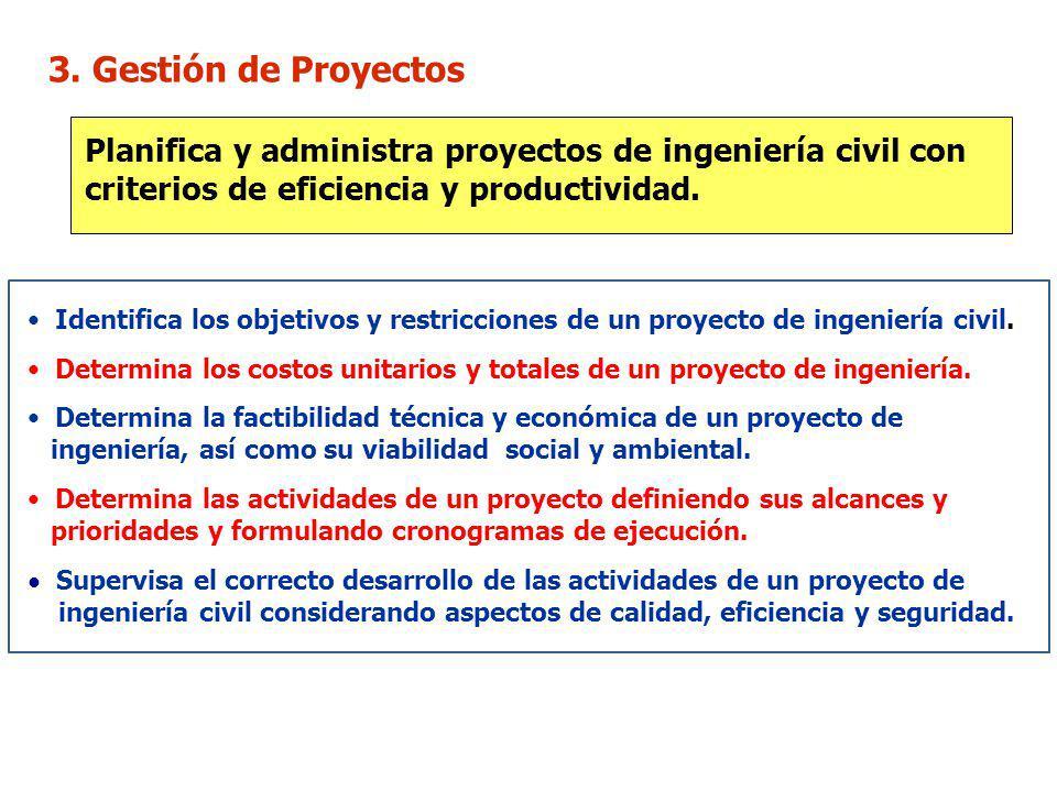 3. Gestión de Proyectos Planifica y administra proyectos de ingeniería civil con criterios de eficiencia y productividad.