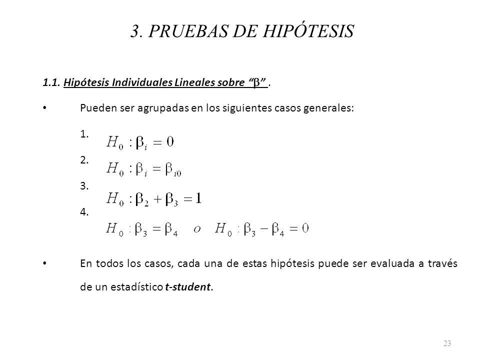 3. PRUEBAS DE HIPÓTESIS 1.1. Hipótesis Individuales Lineales sobre b . Pueden ser agrupadas en los siguientes casos generales: