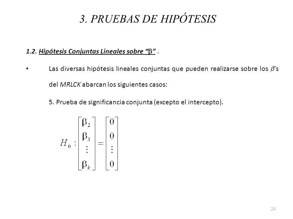 3. PRUEBAS DE HIPÓTESIS 1.2. Hipótesis Conjuntas Lineales sobre b .