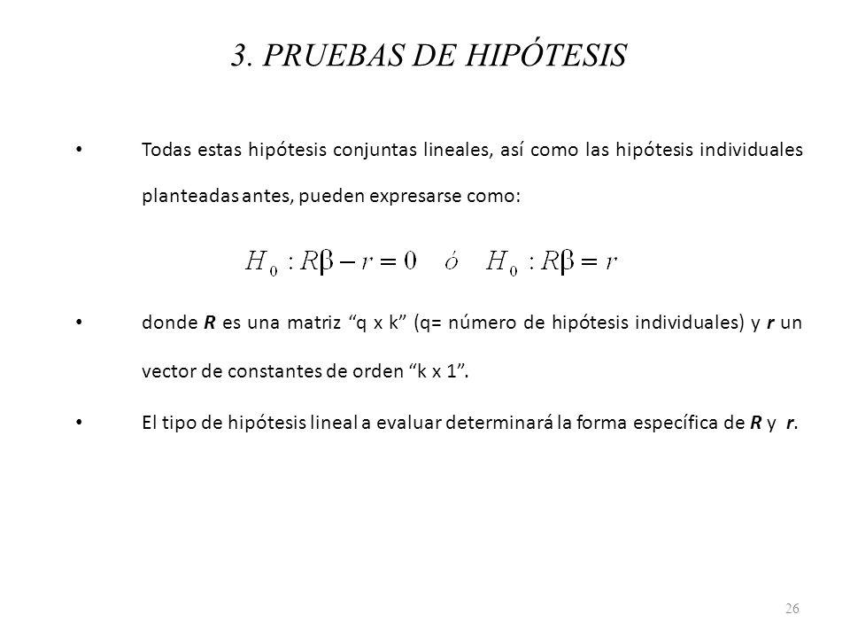 3. PRUEBAS DE HIPÓTESIS Todas estas hipótesis conjuntas lineales, así como las hipótesis individuales planteadas antes, pueden expresarse como:
