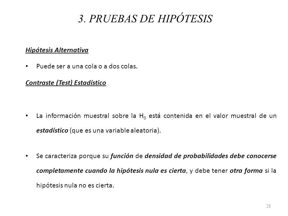 3. PRUEBAS DE HIPÓTESIS Hipótesis Alternativa