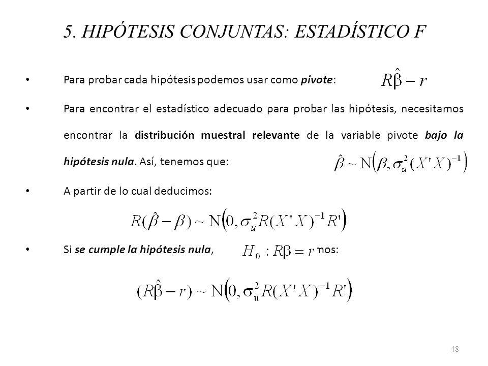 5. HIPÓTESIS CONJUNTAS: ESTADÍSTICO F