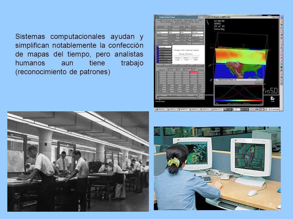 Sistemas computacionales ayudan y simplifican notablemente la confección de mapas del tiempo, pero analistas humanos aun tiene trabajo (reconocimiento de patrones)