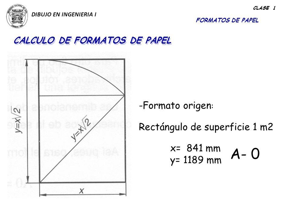 A- 0 Formato origen: Rectángulo de superficie 1 m2 y= 1189 mm