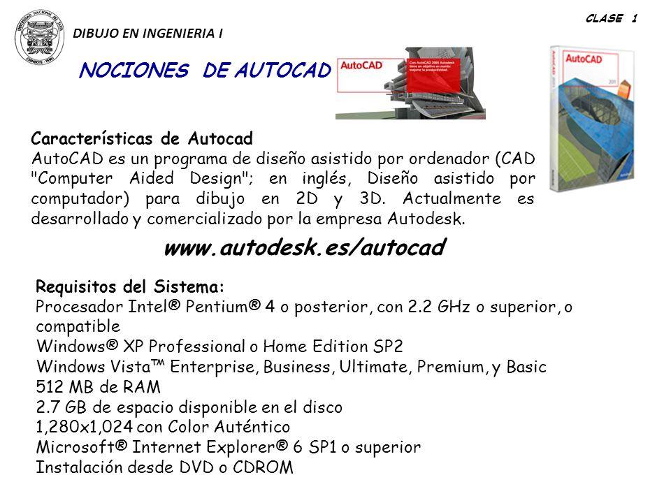 www.autodesk.es/autocad NOCIONES DE AUTOCAD Características de Autocad