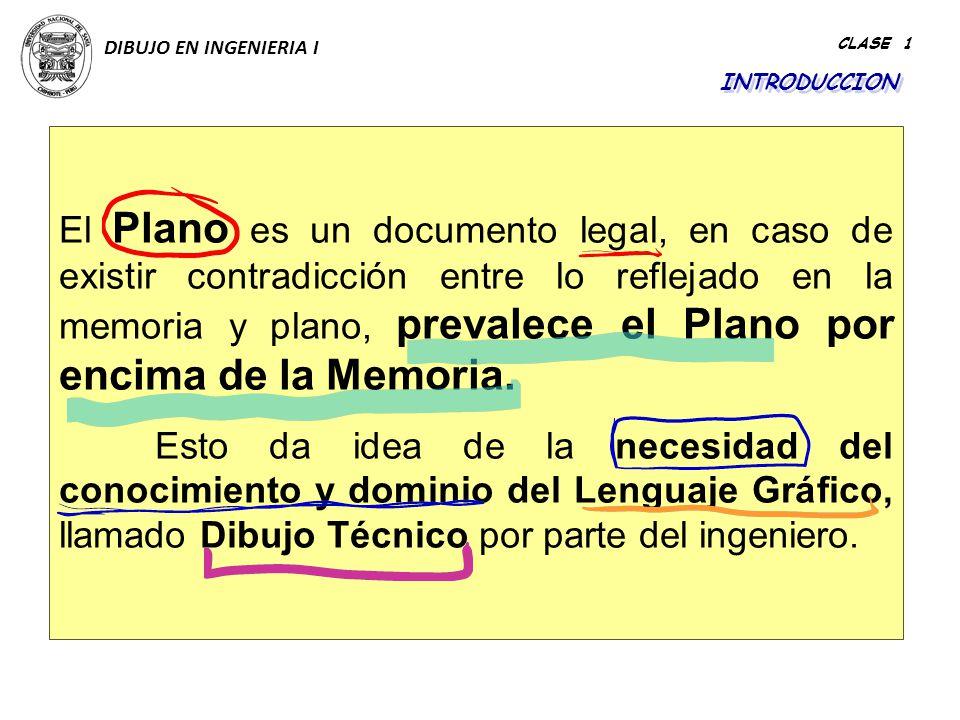 DIBUJO EN INGENIERIA I CLASE 1. INTRODUCCION.