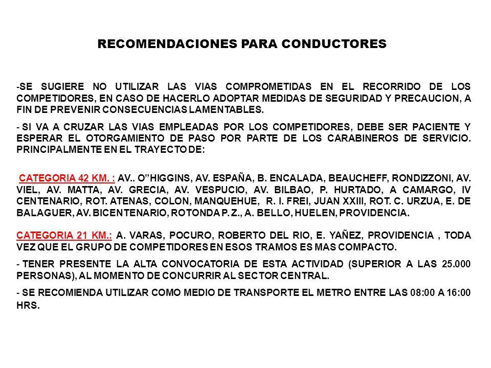 RECOMENDACIONES PARA CONDUCTORES