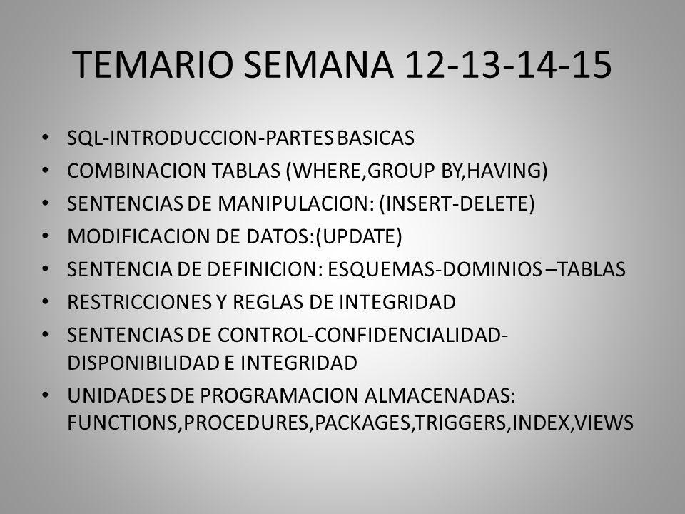 TEMARIO SEMANA 12-13-14-15 SQL-INTRODUCCION-PARTES BASICAS