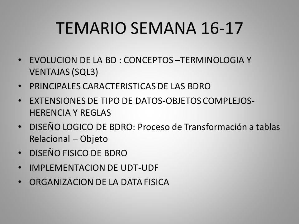 TEMARIO SEMANA 16-17 EVOLUCION DE LA BD : CONCEPTOS –TERMINOLOGIA Y VENTAJAS (SQL3) PRINCIPALES CARACTERISTICAS DE LAS BDRO.
