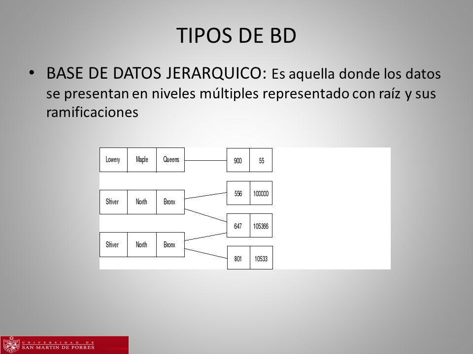 TIPOS DE BD BASE DE DATOS JERARQUICO: Es aquella donde los datos se presentan en niveles múltiples representado con raíz y sus ramificaciones.
