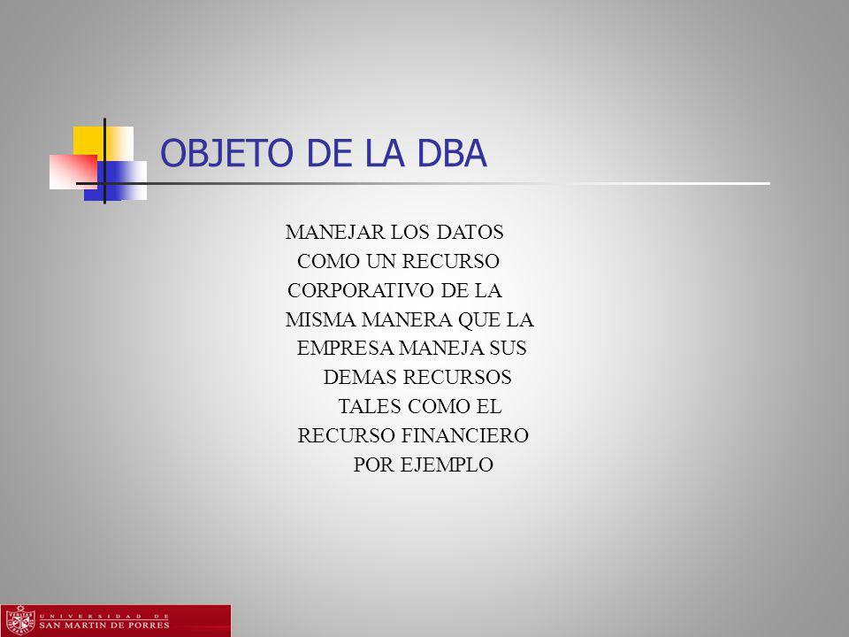 OBJETO DE LA DBA MANEJAR LOS DATOS COMO UN RECURSO CORPORATIVO DE LA