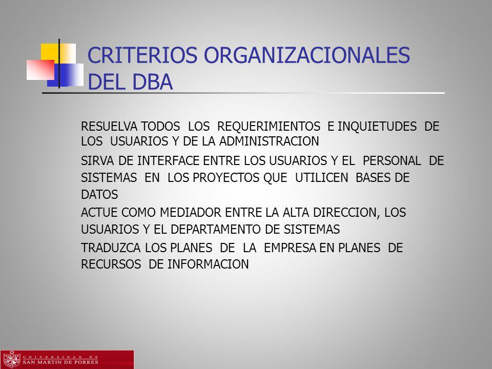 CRITERIOS ORGANIZACIONALES DEL DBA