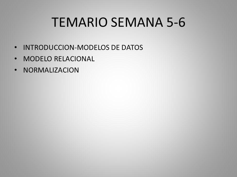 TEMARIO SEMANA 5-6 INTRODUCCION-MODELOS DE DATOS MODELO RELACIONAL