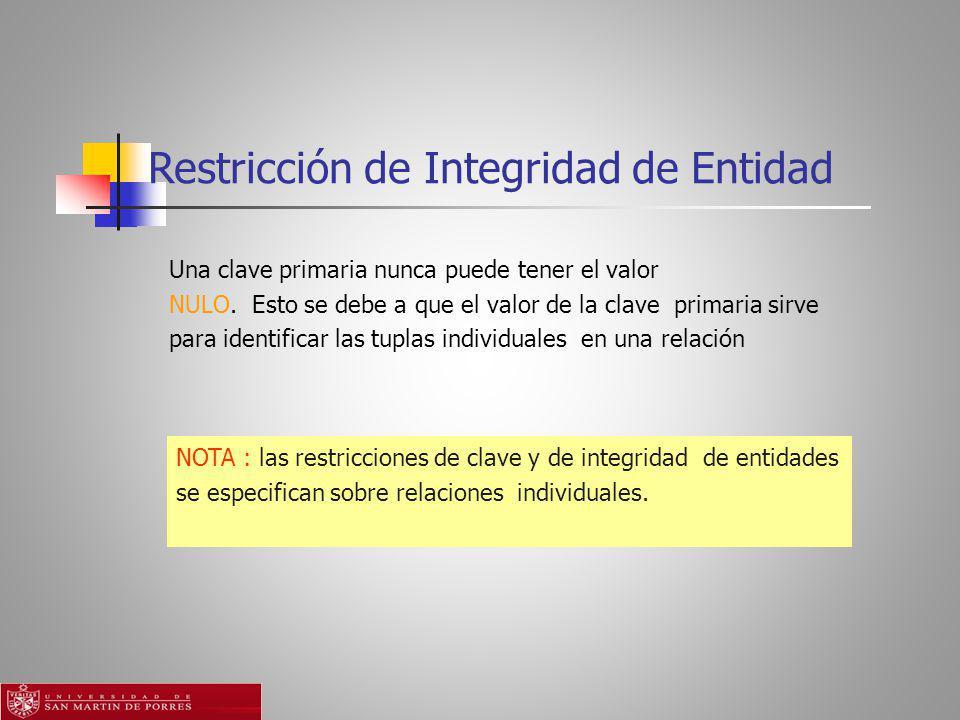 Restricción de Integridad de Entidad