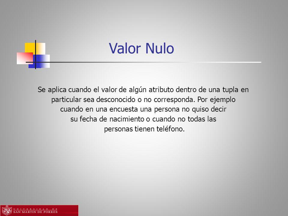 Valor Nulo Se aplica cuando el valor de algún atributo dentro de una tupla en. particular sea desconocido o no corresponda. Por ejemplo.