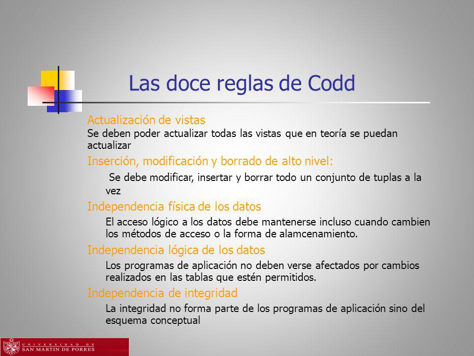 Las doce reglas de Codd Actualización de vistas