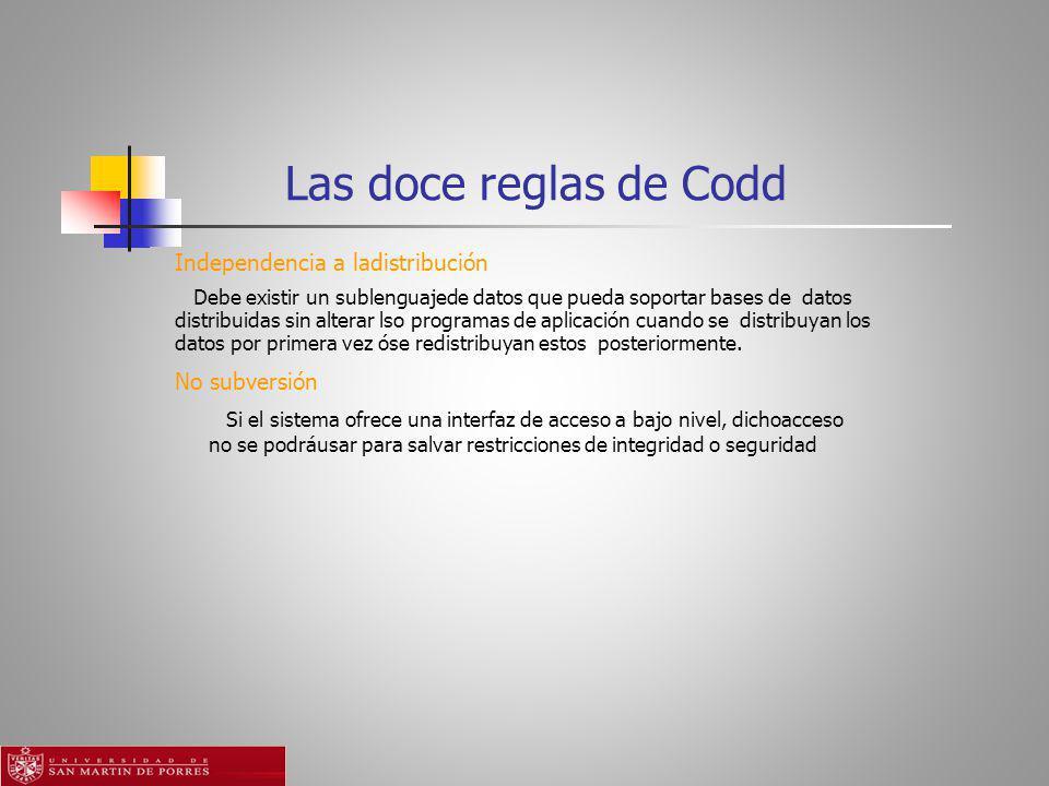 Las doce reglas de Codd Independencia a ladistribución No subversión