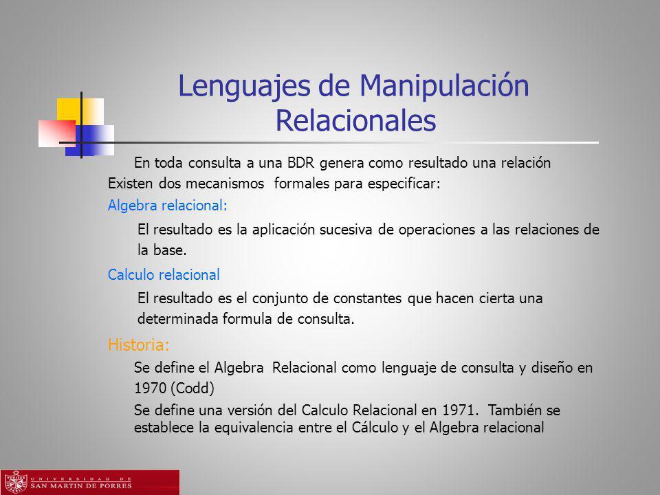 Lenguajes de Manipulación Relacionales