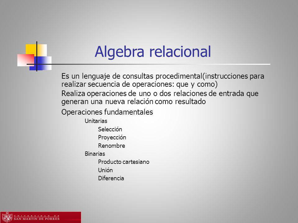 Algebra relacional Es un lenguaje de consultas procedimental(instrucciones para realizar secuencia de operaciones: que y como)