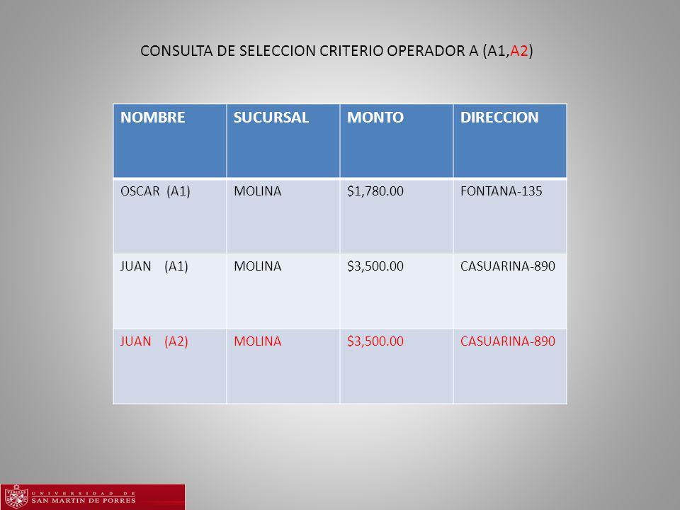 CONSULTA DE SELECCION CRITERIO OPERADOR A (A1,A2)