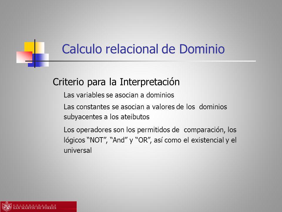 Calculo relacional de Dominio
