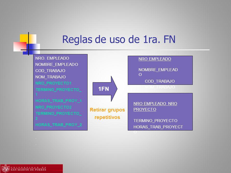 Reglas de uso de 1ra. FN 1FN Retirar grupos repetitivos NRO. EMPLEADO