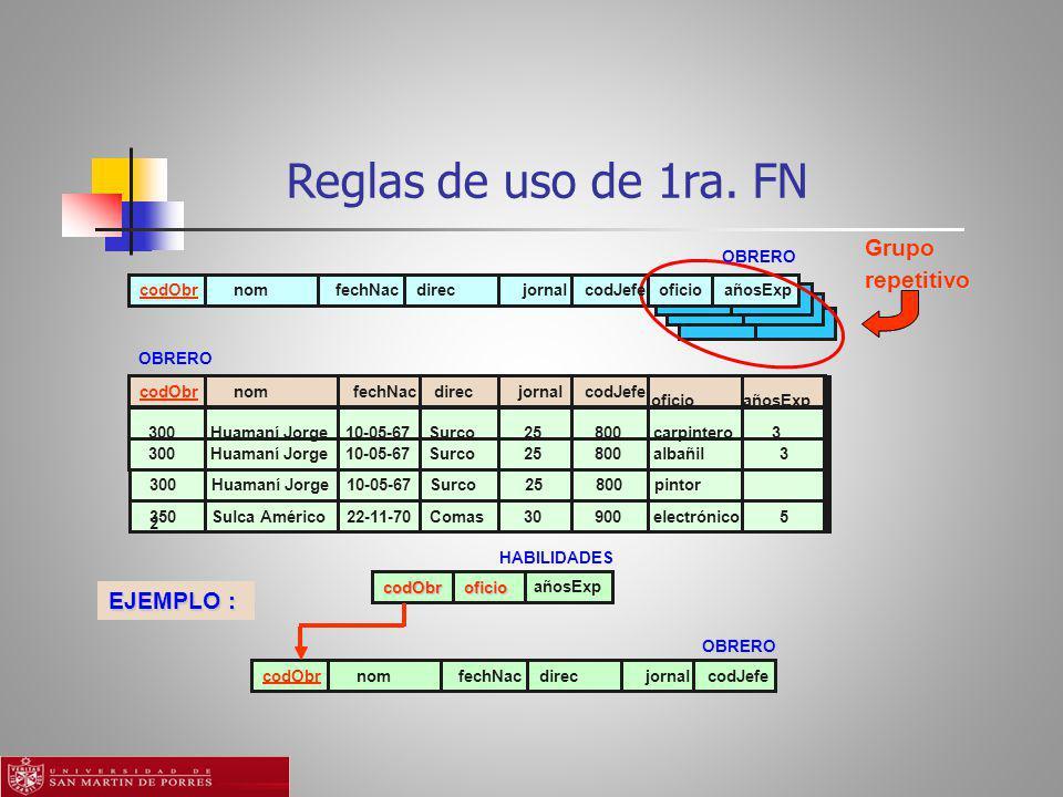 Reglas de uso de 1ra. FN Grupo repetitivo EJEMPLO : OBRERO codObr nom
