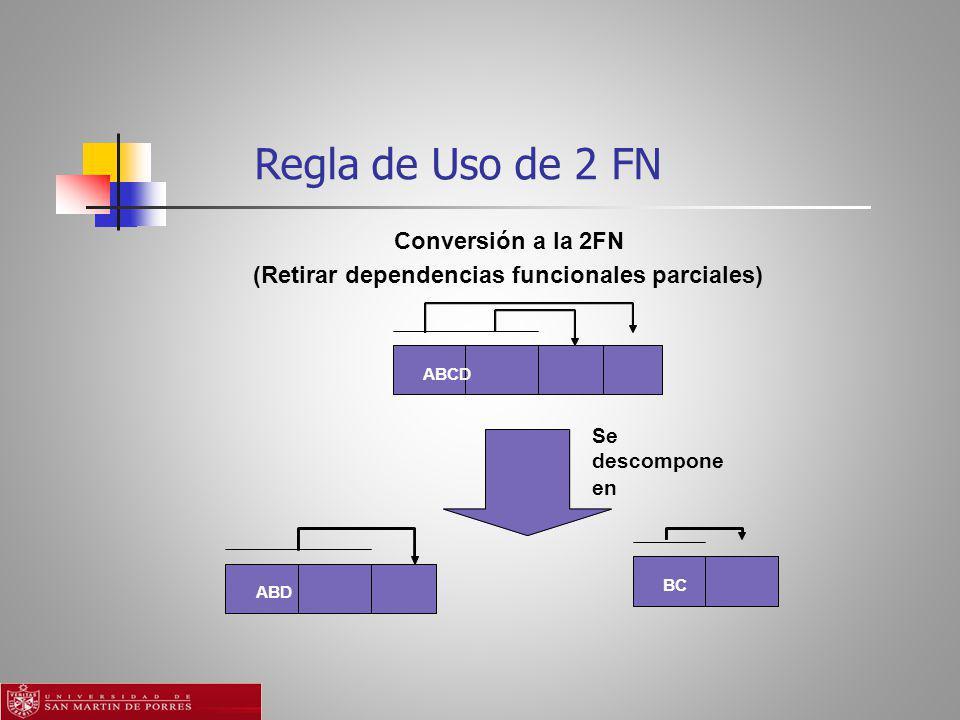 Regla de Uso de 2 FN Conversión a la 2FN