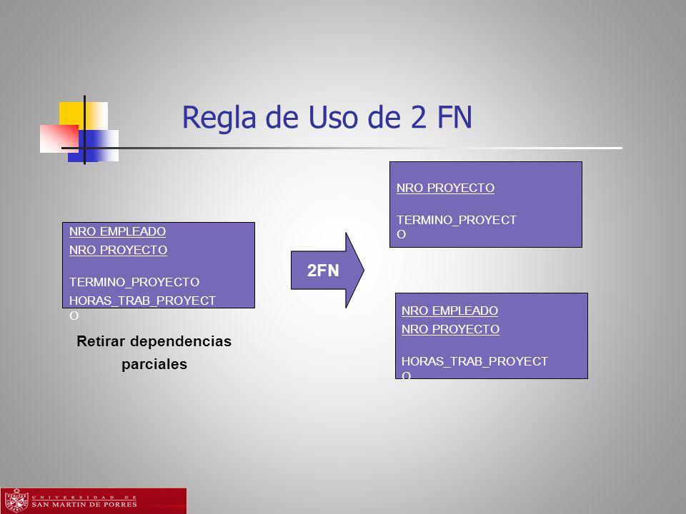 Regla de Uso de 2 FN 2FN Retirar dependencias parciales NRO PROYECTO