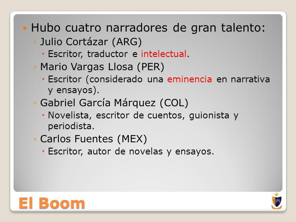 El Boom Hubo cuatro narradores de gran talento: Julio Cortázar (ARG)