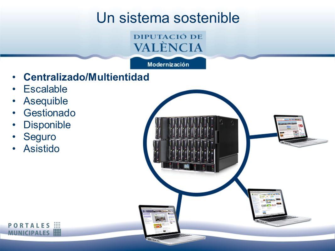 Un sistema sostenible Centralizado/Multientidad Escalable Asequible