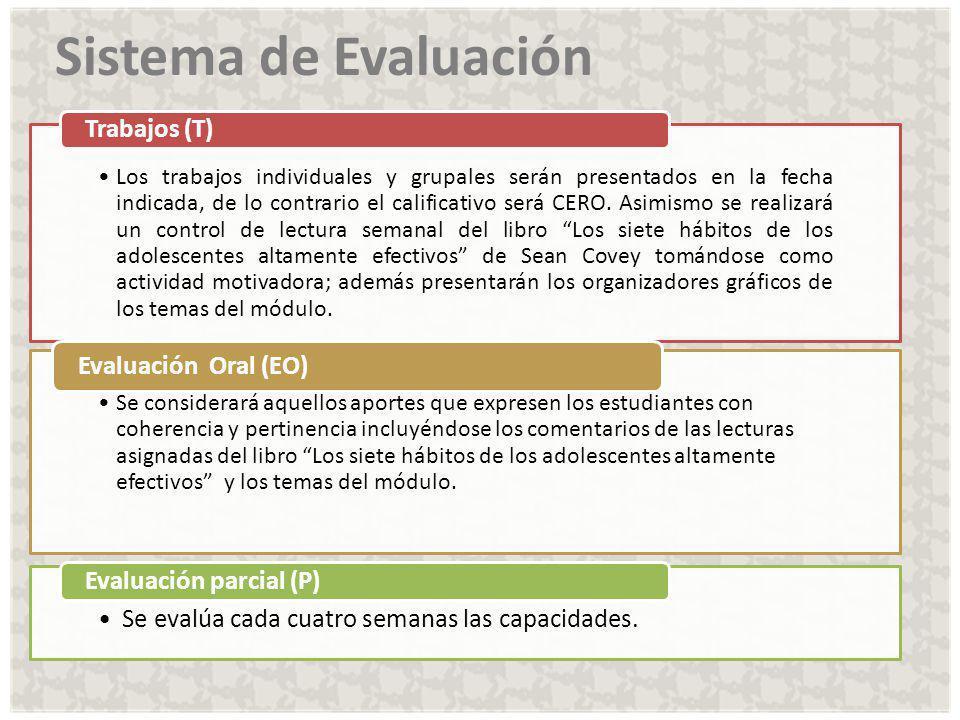 Sistema de Evaluación Evaluación parcial (P) Evaluación Oral (EO)