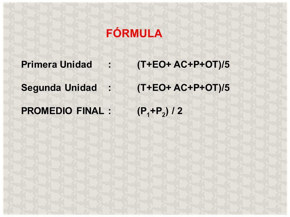 FÓRMULA Primera Unidad : (T+EO+ AC+P+OT)/5