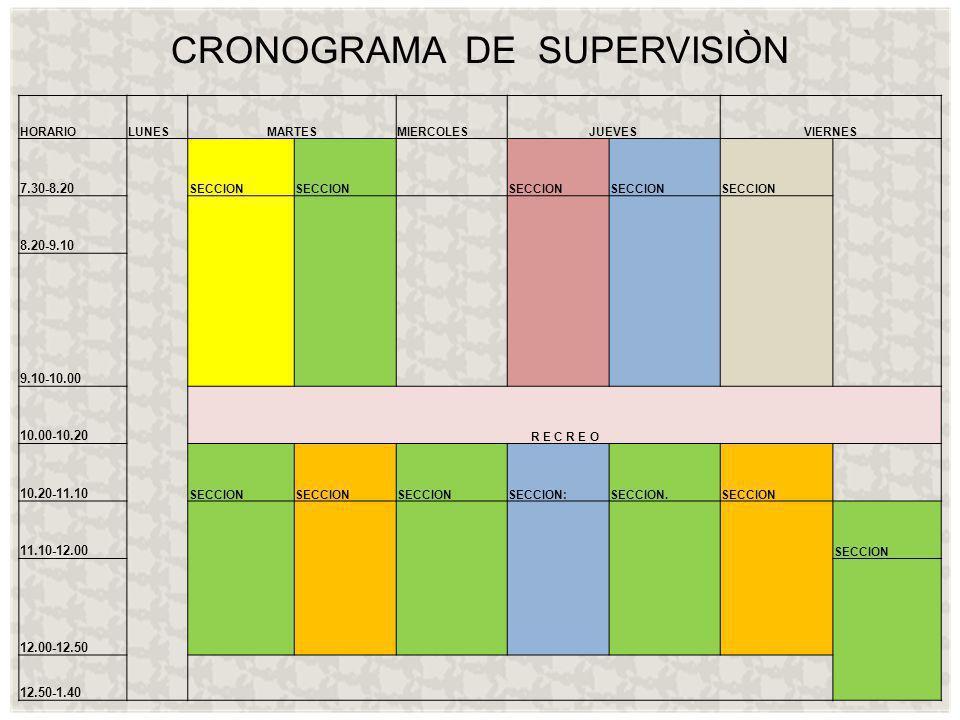 CRONOGRAMA DE SUPERVISIÒN