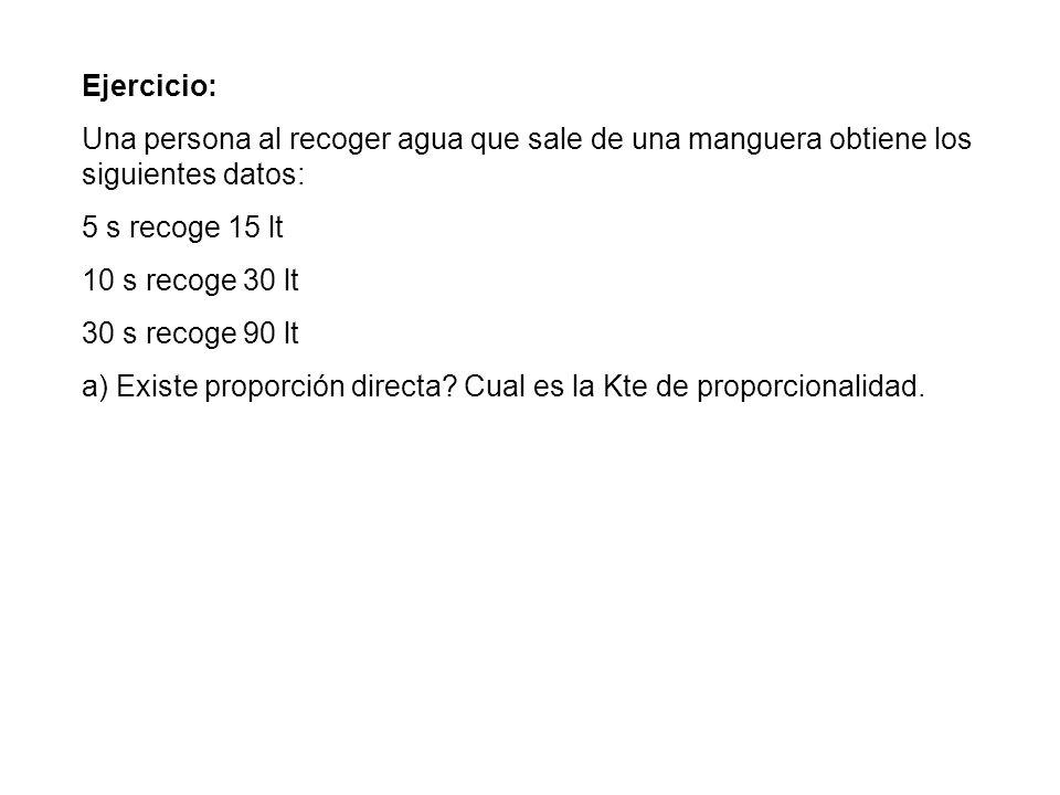 Ejercicio: Una persona al recoger agua que sale de una manguera obtiene los siguientes datos: 5 s recoge 15 lt.