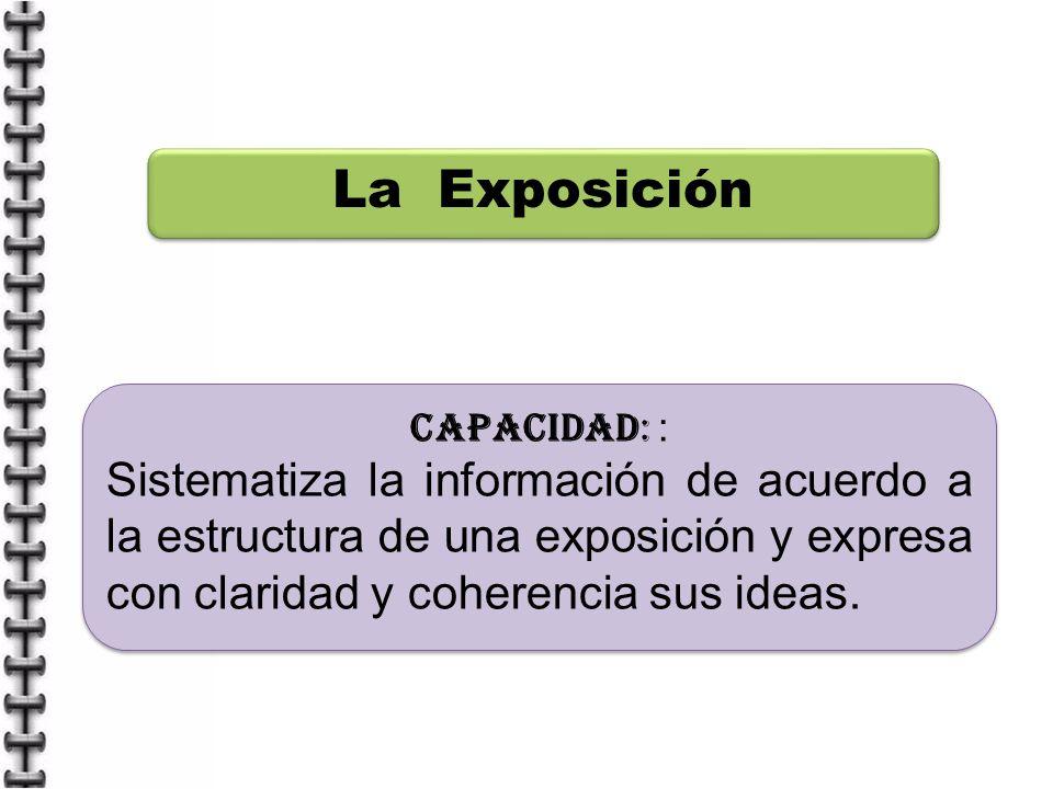 La Exposición CAPACIDAD: : Sistematiza la información de acuerdo a la estructura de una exposición y expresa con claridad y coherencia sus ideas.