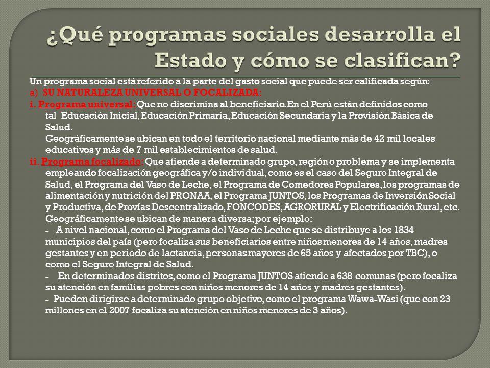 ¿Qué programas sociales desarrolla el Estado y cómo se clasifican