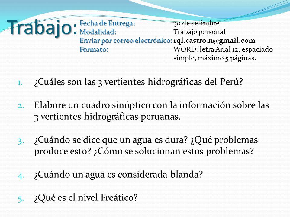 Trabajo: ¿Cuáles son las 3 vertientes hidrográficas del Perú