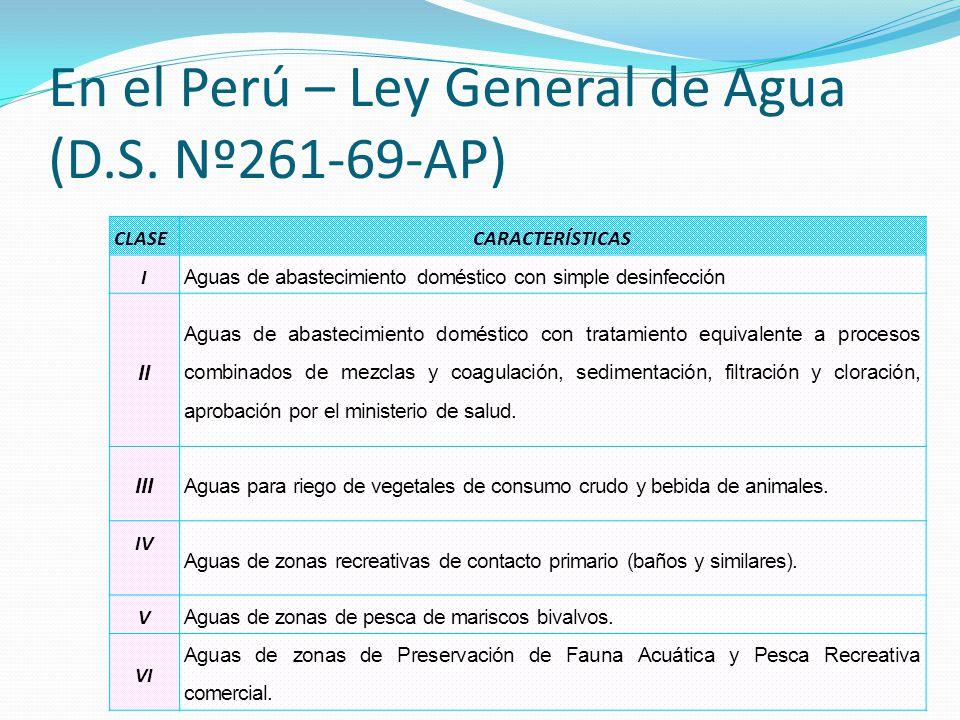 En el Perú – Ley General de Agua (D.S. Nº261-69-AP)