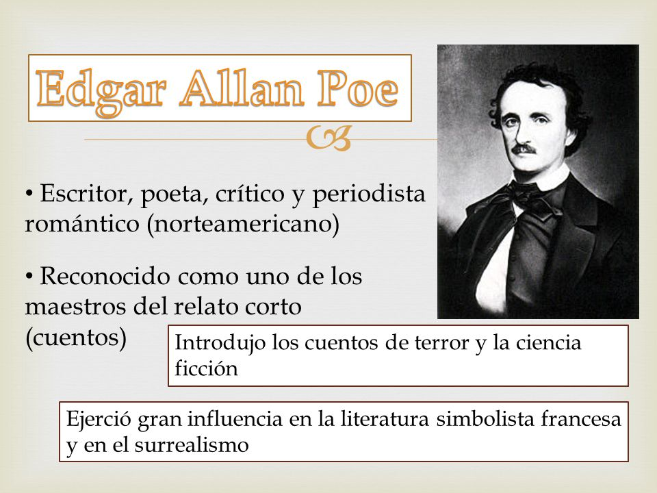 Edgar Allan Poe Escritor, poeta, crítico y periodista romántico (norteamericano) Reconocido como uno de los maestros del relato corto (cuentos)
