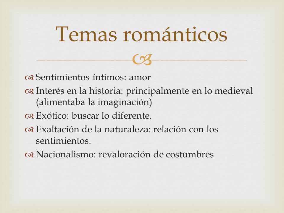 Temas románticos Sentimientos íntimos: amor